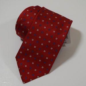 BRIONI Red Blue Geometric Silk Neck Tie